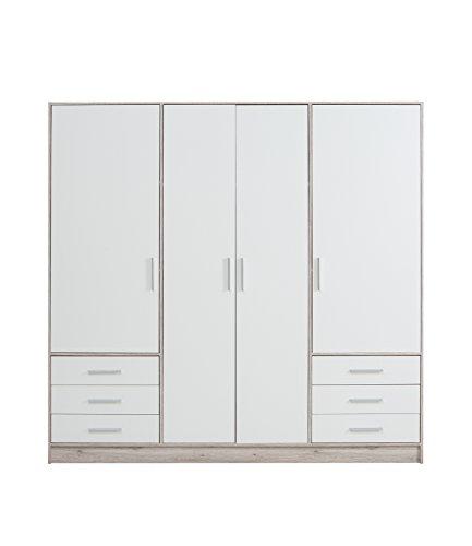 FORTE  Kleiderschrank 4-türig, 6 Schubkästen, Holz, Sandeiche Dekor + Weiß, 206.5 x 60 x 200 cm