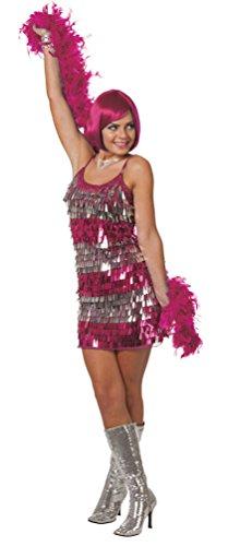 isco Kleid 80er Jahre pink Disco Kostüm Charleston Kleid Charleston Kostüm Damen-Kostüm Größe 42 ()