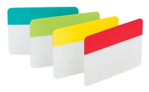Durable File Tabs, 2 x 1 1/2, Red, Yellow, Green, Blue, 24/PK, Sold as 1 Package