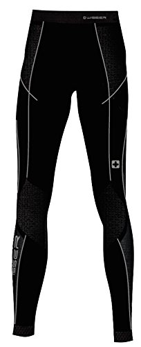 Wisser Thermo-Unterhose Damen mit Kompression leitet Schweiß nach außen ab, anatomisch geformt elastisch hautfreundliche Flatlock-Nähte Leggings Lang 46033, schwarz/grau, S (Polypropylen Thermo-unterwäsche)