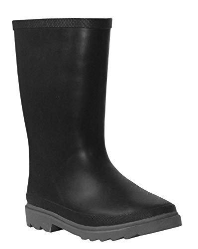 Boys Kids Youth Mid Calf Black Fleece Lined Waterproof Wellington Wellies Rain Puddle Boots UK 11-4