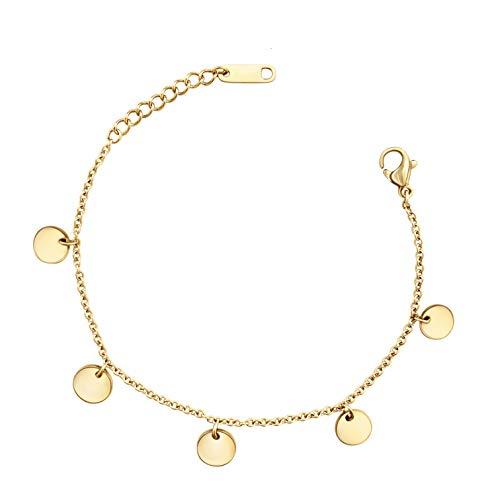 LENIRA | Coin Armband - Filigranes Frauen Armbändchen - perfekt geeignet als Geschenk (Gold)