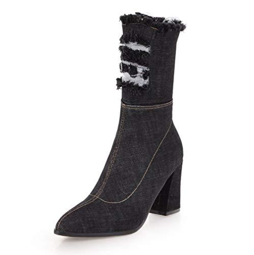 SHANGWU Damen Damen Biker Boot Knöchel/High Heel Winter Zip Kalb Knie Denim Schuhe Stiefel Cowboy Heeled Slouchy Stiefel Größe (Farbe : Schwarz, Größe : 38) - Slouchy Boot-plattform