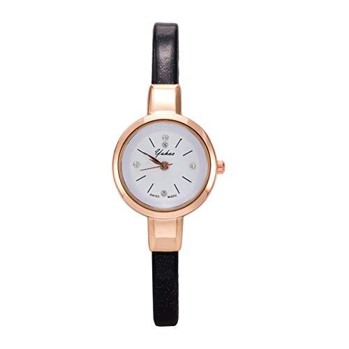 Armbanduhr, Quarz, Analog, lässige Armbanduhr, Modisch, für Herren und Damen, Sehr dünn, Schmal, Armband (Schwarz)
