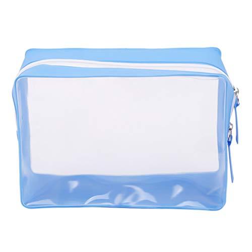 Beafavor Multi-Function Cosmetics Bag Transparent Sac De Toilette Maquillage Étanche Porte-Monnaie (Bleu Royal)