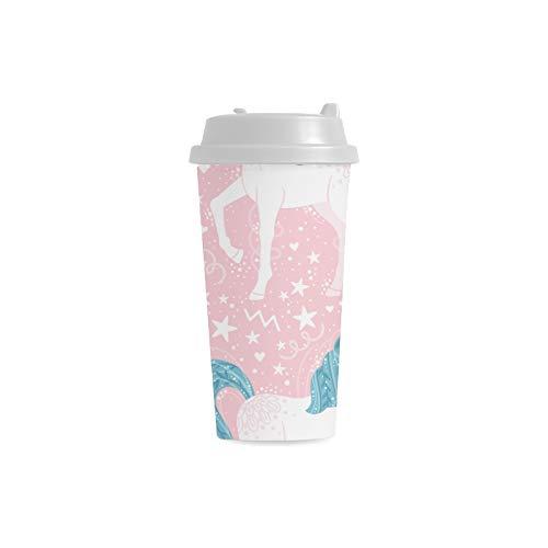 Populärer netter Einhorn Kopf kundenspezifischer personifizierter Druck 16 Unze doppelwandiger Plastikisolierkunstsport Wasser Flaschen Becher Pendler Reise Kaffeetassen für Studenten Frauen Teetasse