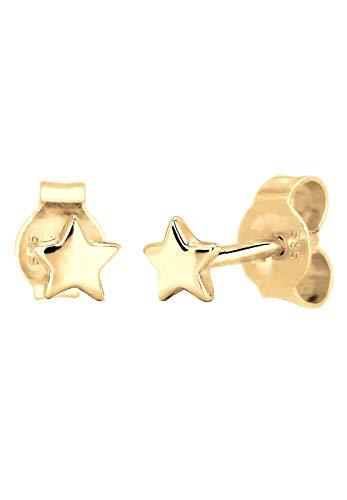 Elli Premium Damen-Ohrstecker Sterne 585 Gelbgold 925 Silber - 0309642215