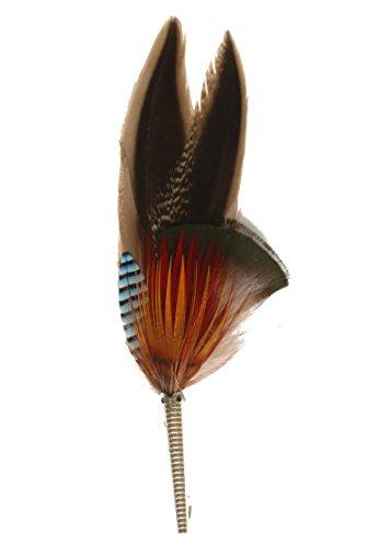 Echte Hutfeder | Hutanstecker – von Ente, Fasan, Eichelhäher - Handgemacht - Accessoir für den Trachtenhut – Inkl. Hülse – 11 x 3 cm