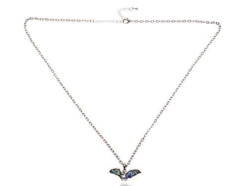 l Silber Ton Fliegen Flügel Fledermaus Halloween Creepy Dark Anhänger Halskette (Horror-großhandel)