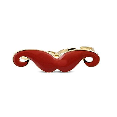Art- und Weiselegierungs-Rose / rosafarbene Goldfarbe überzogener roter emaillierter Schnurrbart-Verbindungsstück Zwei Finger-justierbarer Ring (Ring Zwei-finger-schnurrbart)