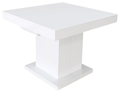 Menzzo 3327480021491 Mustang Table Extensible MDF Laqué Blanc 100 x 90 x 75 cm