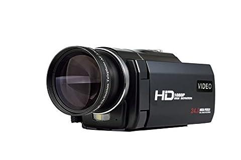 MARVUE Videokamera Full HD 1920x1080p 30fps Camcorder 24.0MP Digitalkamera Nahaufnahmen 3,0 Zoll Touchscreen Mit Externe Batterie