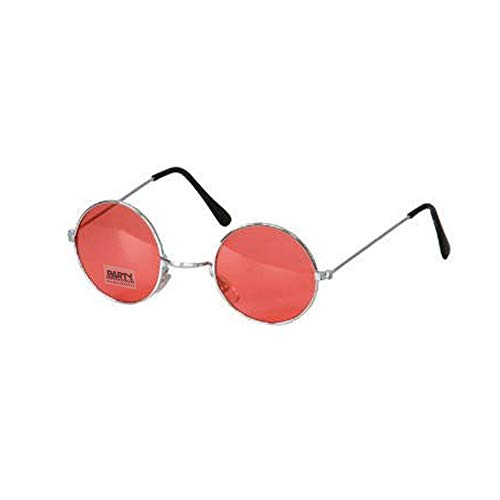 PARTY DISCOUNT ® Brille Hippie, runde, rote Gläser aus ()