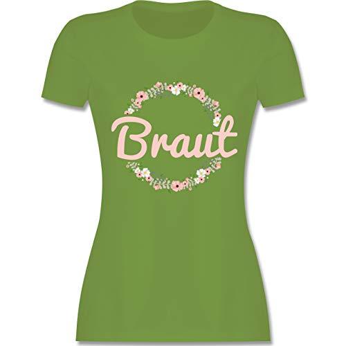 (JGA Junggesellinnenabschied - Braut Blumenkranz rosa - L - Hellgrün - L191 - Damen T-Shirt Rundhals)