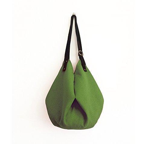 Große Jute-tote (Stofftasche mit Schulterriemen aus Wildleder, Tasche damen grün groß, Tote bag stoff, Schultertasche damen gross, Handtaschen gruen, Handgefertigte Taschen, Frauentasche umhängetasche, BBagdesign.)