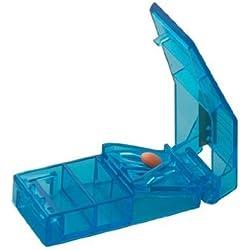Cortador de comprimidos transparente con contenedor, azul