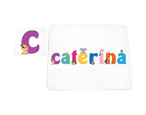 Little helper lhv-caterina-coasterandplacemat-15it sottobicchieri e tovagliette con finitura lucida, personalizzati ragazze nome caterina, multicolore, 21 x 30 x 2 cm