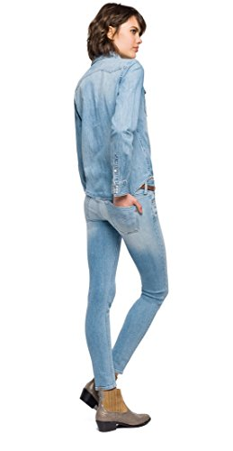Replay Damen Bluse Jeanshemd Blau (Light Blue 10)