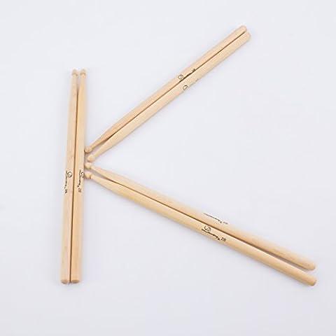 3 Paar Drumsticks MAPLE PERCH HEAVY Set aus Ahorn, 2B natur - Drumstick Set mit 6 Ahorn Stöcke / 3er Paar Rock 2 B Ahorn Schlagzeugsticks - klangbeisser