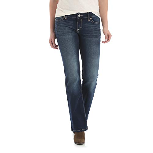 Wrangler Damen Retro Mid Rise Boot Cut Jeans, dunkle Waschung, 19W x 34L