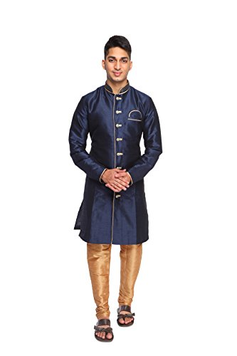 Rajasi's NAVY color PLAIN SILK INDO WESTERN WITH ELEGANT DIAMOND BUTTONS ALONG...