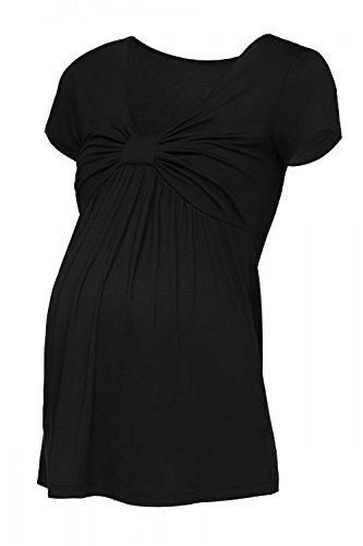 Happy Mama. Femme T-Shirt Empire de Grossesse Buste Noeud Manches Courtes. 969p Noir