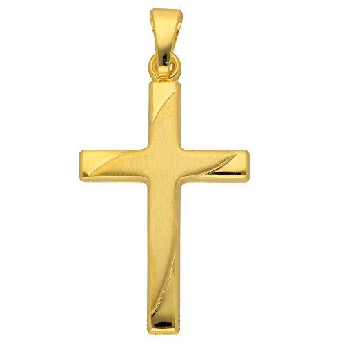 Gold Kreuz Anhänger aus 585 Gelbgold