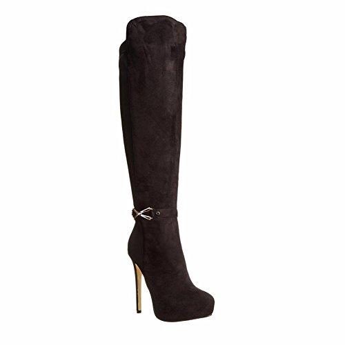 L@YC Damen Stiefel Oberschenkel Hohe Damen Overknee Stretch Abend Block Mitte Ferse, Black, 46 (Womens Ferse Block)