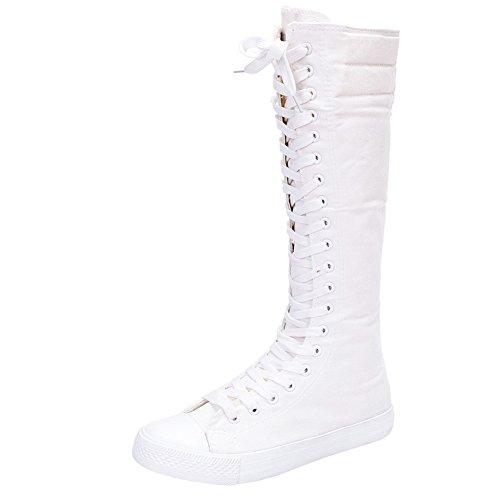 Jamron Mädchen Damen Modisch Knie Hoch Schnüren Segeltuch Stiefel Rein Weiß Leinenschuhe Reißverschluss Tanzschuhe SN811 - Kostüm Knie Stiefel