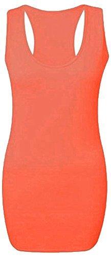 Damen Einfarbiger Lang Bodycon Racerback Muskel Weste Damen Ärmellos Maxi Fitnesstop Koralle