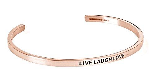 """URBANHELDEN - Armreif mit Gravur - Damen Schmuck Inspiration Motivation - Verstellbar, Edelstahl - Armband mit Spruch""""Live Laugh Love"""" - Rosegold"""