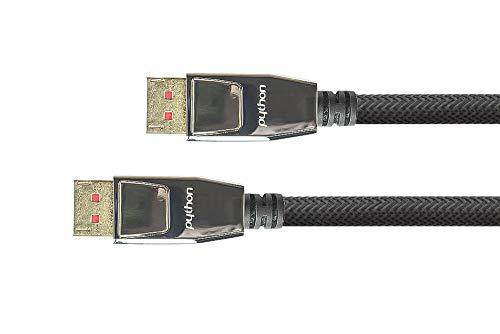 PYTHON Series PREMIUM DisplayPort 1.4 Kabel - 8K @60 Hz / 4K @240 Hz - Vollmetallstecker mit Verriegelung, vergoldete Stecker, 3-fach Schirmung - KUPFERLEITER - Nylongeflecht - SCHWARZ -  2 m -