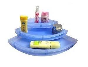 "Babbar Kitchenexp :Unbreakable"" Premium Quality Crystal Clear Corner Set Plastic Bathroom Corner Shelves (Pack Of 3, Clear) Blue"