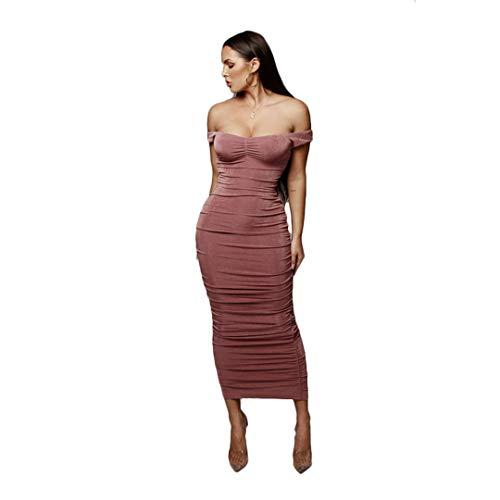 SWESEYDRE Trägerloser Verband Langes Kleid Schulterfrei Rückenfrei Abend Party Kleider Sommerkleid Vestido pink Dress XXL -