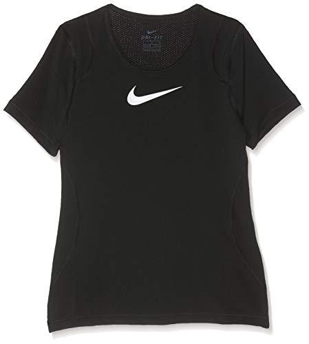 Nike Mädchen G NP TOP SS T-Shirt, Black/White, XL (Nike Pro T-shirt Frauen)