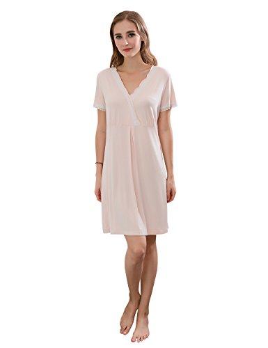 QianXiu delle donne comode camicia da notte con scollo av indumenti da notte sexy pizzo camicia da notte in fibra di bamb¨´ pigiameria semplice naturale abbigliamento per la casa camicia da notte Light Pink