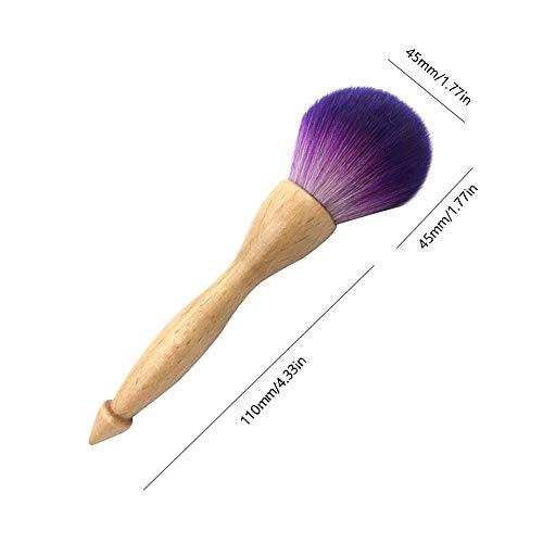 Pinceau de maquillage professionnel Poignée en bois naturel cheveux de fibre violette Brosse à poudre éparpillée -Yves25Tate