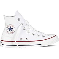 Converse Chuck Taylor All Star High Classic CTAS Hola para Mujer para Hombre Zapatillas de Deporte Unisex Zapatillas de Lona Zapatillas Deportivas con Etiqueta de 7kmh Blanco 39.5
