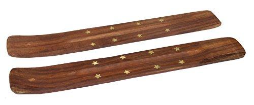 Baumwolle Craft 2Pack-Sarg Stil Holz Weihrauch Brenner Halter mit Sonne und Mond Inlays-Handgefertigt aus Sheesham Holz und Messing Intarsien-Größe 12x 2x 2 10x1.4x0.4 (with Brass Inlays) - Sonne Original Speicher