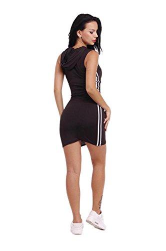JOTHIN 2017 Femmes Nouvelle Serrés Encapuchonné Bandage Jupe Sexy Slim Épissage Cou Ronde Couleur Unie Package Hanche Sans Manches Jupe d'étape(S-XL) Noir