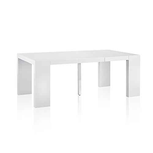 INTENSEDECO Table Console Extensible Oxalys Blanc Laquée