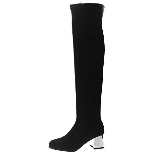 Manadlian Bottes Femmes Plus de Boots en Velours Zip Flats Bottes Hautes Automne et d'hiver Bottes 5CM Sexy Bottes Flats Bottes élastiqu Chaussures