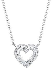 Elli Premium Damen-Kette mit Anhänger Herz 925 Silber rhodiniert Swarovski Kristalle weiß Rundschliff 45 cm 0101161317_45