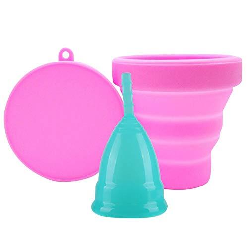 Copas menstruales reutilizables con copa plegable esterilizadora de silicona plegable, alternativa de tampón y almohadilla para la taza del período de higiene femenina 3PCS
