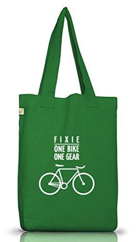 Shirtstreet24, Fixie - One Bike, Borsa Da Bici In Tessuto Di Juta Bag Terra Positiva (taglia Unica) Verde Muschio