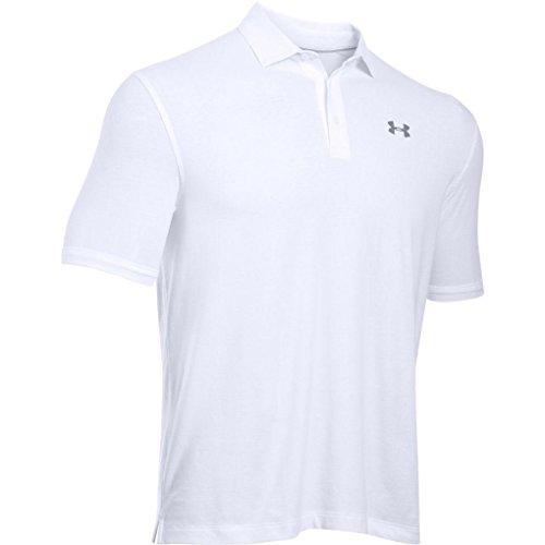 Under Armour - Charged Cotton Scramble Polo Chemise à Manches Courtes - Homme - Blanc - Taille: L