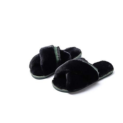 Wenzhihua pantofole da interno in schiuma antiscivolo ciabatte infradito da donna con ciabattine calde interne - pantofole da interno antiscivolo (colore : nero, dimensione : 40-41)
