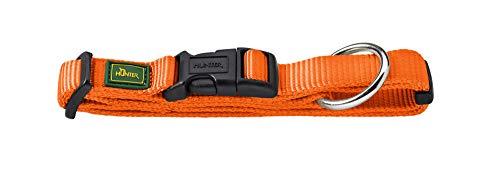 HUNTER Hundehalsung Vario Plus, Nylon, mit Zugentlastung, mit Klickverschluss, M, 35 - 53 cm, Breite 2,0 cm, orange -