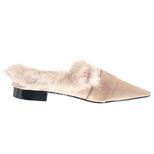 Angkorly Scarpe Moda Mocassini slip-on donna pelliccia fibbia doro Tacco a blocco 2 CM Rosa