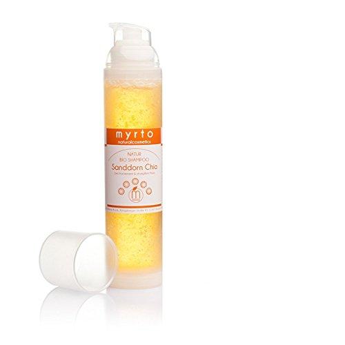 myrto-naturalcosmetics - Bio Shampoo Sanddorn Chia mild | für mehr Glanz und gesunde Kopfhaut ✔ gegen Spliss ✔ ohne Sulfate ✔ ohne Silikone ✔ ohne Alkohol ✔ vegan ✔ handgefertigt ✔ (Shampoo Bio-sulfat Frei)